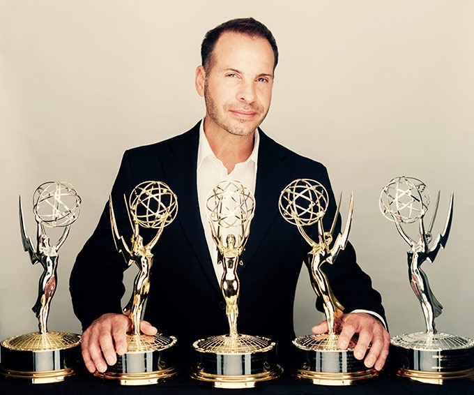Anthony Lenzo with Emmy Awards