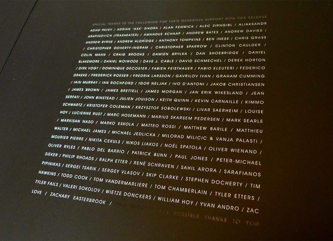 36 - Shadow Play inner-gatefold, with names of people who funded the record