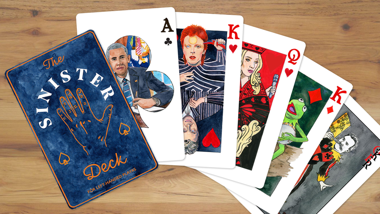 The Sinister Deck is a left-handed card deck that features famous left-handed people on the face cards.  Did you miss our campaign?  Click the button below to get your deck: