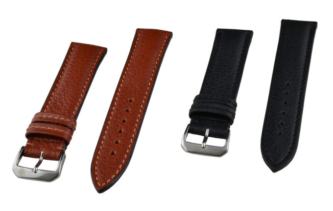 The two genuine Buffalo straps side by side