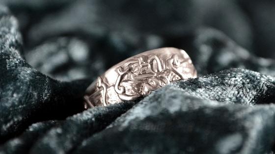 Handcarved Kraken ring in sterling silver or 10k gold