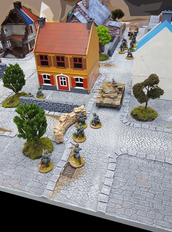 """A """"Medieval"""" Themed Urban board in use; buildings and models included only for demonstration purposes, not part of the Sets"""