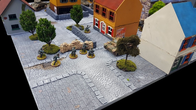 The same board, with trees, buildings, fences and entrenched German troops! (Buildings and models included only for demonstration purposes; not part of the sets)