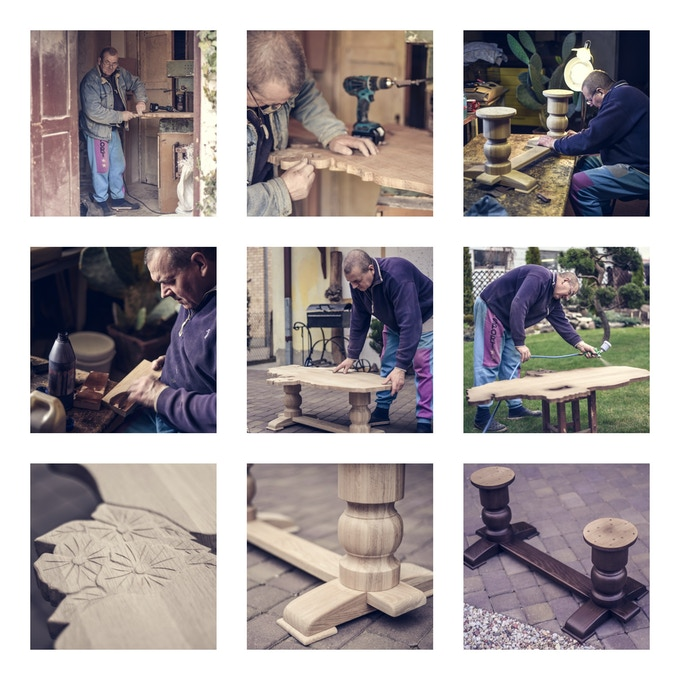 The process of making Martinique shape table
