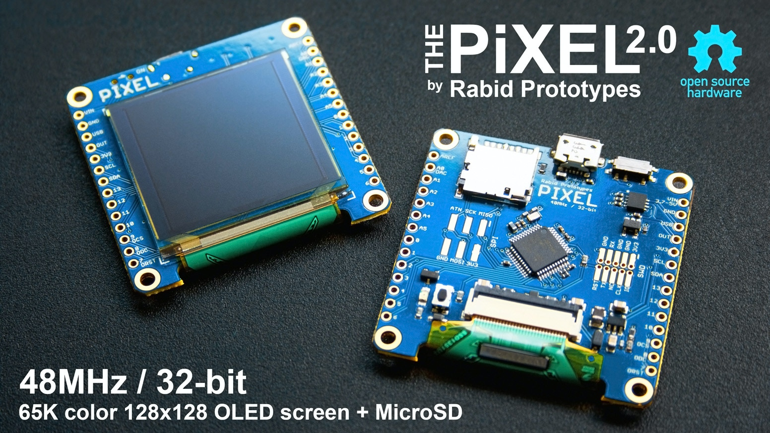 The Pixel combines a 32-bit 48MHz ARM Cortex M0+ microcontroller w/ a color OLED display and MicroSD!