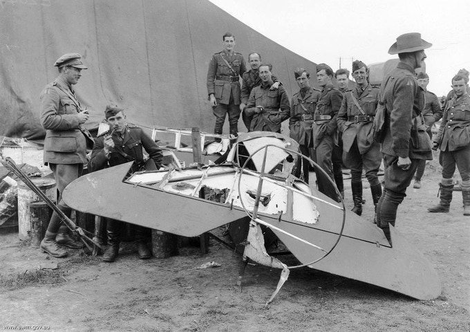 The remains of Baron von Richthofen's Fokker Dr.I triplane at the aerodrome of No. 3 Squadron of the Australian Flying Corps at Bertangles, Somme, Picardie (France).