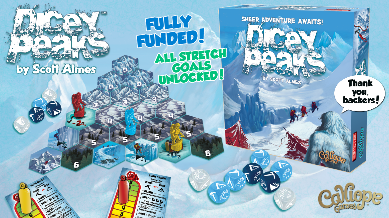 A push-your-luck adventure tabletop game for 2-6 players by Scott Almes, featuring a thrilling balance of strategy and luck!
