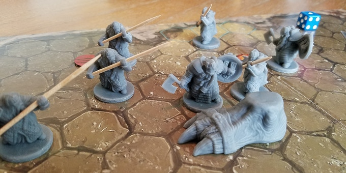 The Troll surrounded. He's not easily killed. (prototype pieces shown)