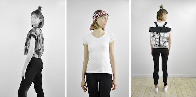 Armadillo Top - Silk scarf worn as headband - Postman Backpack