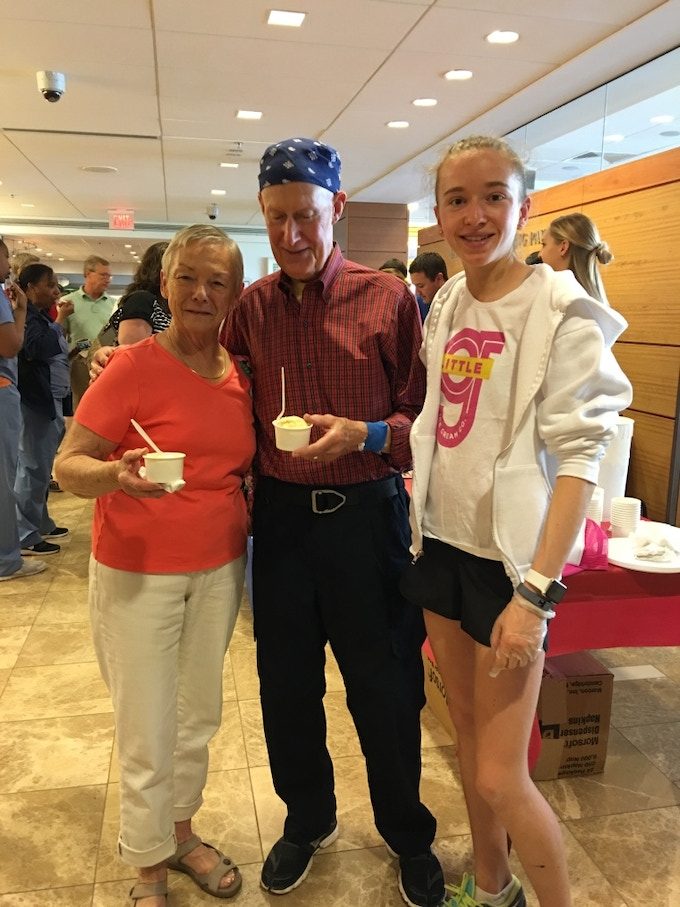 Scooping ice cream for patients at Dana-Farber Cancer Institute