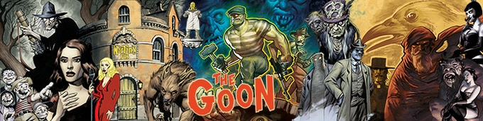 The GM Screen for The Goon™ RPG is a three panel, hard sided, landscape format screen with tips and reminders for the Game Master to use—and players get this lovely view!