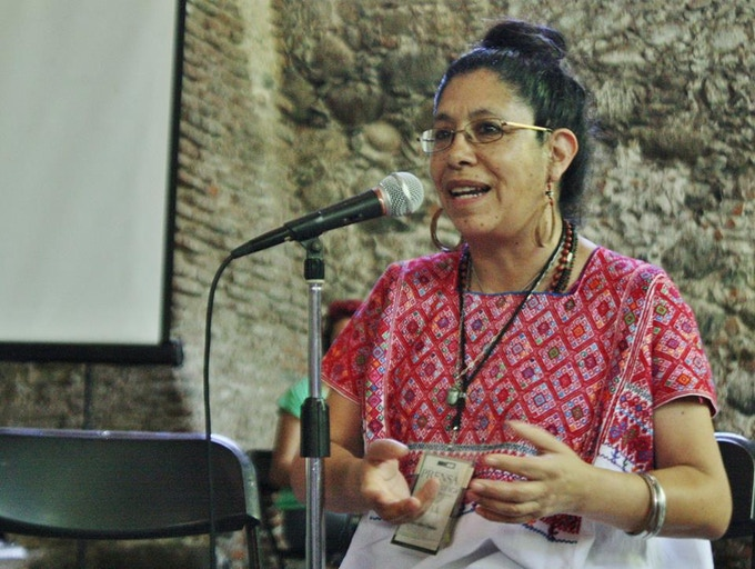 """Mercedes Osuna teaches """"Safety In Conflict Zones,"""" one of the most popular and important sessions at the school."""