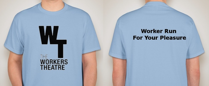 "a bright blue t-shirt with the WT logo on the front and ""Worker-Owned, for Your Pleasure"" on the back"