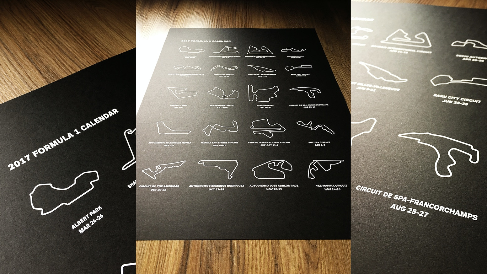 Screen Printed Circuits : F race circuit calendar screen printed posters by