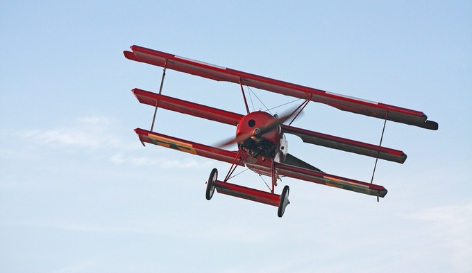 The Museum's 1917 Fokker Dr.I reproduction, last seen in the air in 2014.
