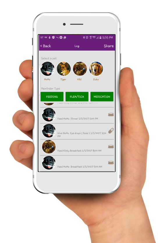 The Scollar app keeps track of all of your pets' information.
