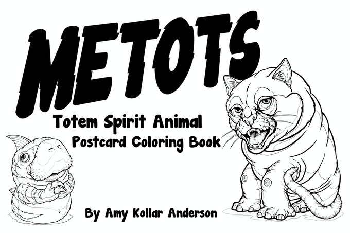Metots : Totem Spirit Animal Postcard Coloring Book by Amy