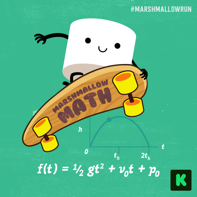 Marshmallow Math T-Shirt: the formula for the parabola that maps the trajectory of a jump!