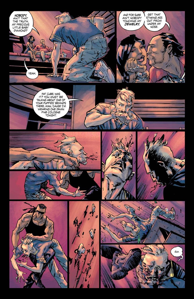 The Happy Few page 13, where down on his luck Len Jeffries gets beaten up