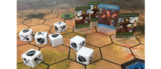 The units on the board engage in combat resolved by dice rolls based on each unit's attributes and abilities. Only when a player has destroyed their opponent's Sigil may they glory in the triumph of Victory.