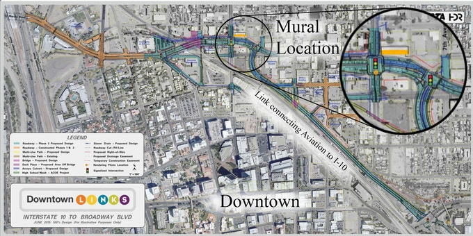 Map of the new Aviation Highway continuation and location of the mural.