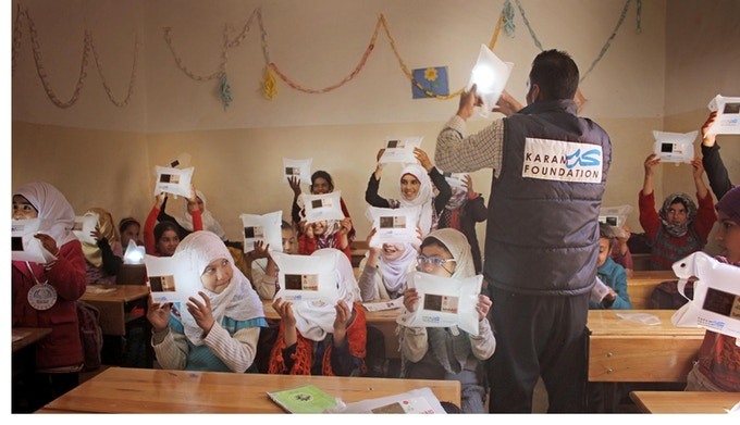 The Karam Foundation has already rebuilt 30 schools and educated over 8,000 refugee children.