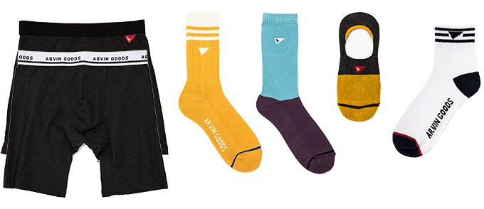 Pledge includes 1x Black Boxer Brief / 1x Dark Grey Performance Boxer / 1x Yellow Gym Sock / 1x Blue/Purple Casual Sock / 1x Yellow/Grey NoShow Sock / 1x White/Navy Crew Sock