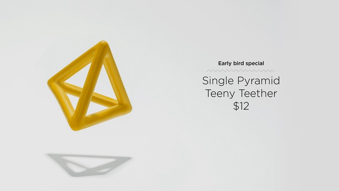 Our tetrahedron reaches far back into those pesky molars and can be an excellent roof on a set of stacked wooden blocks.