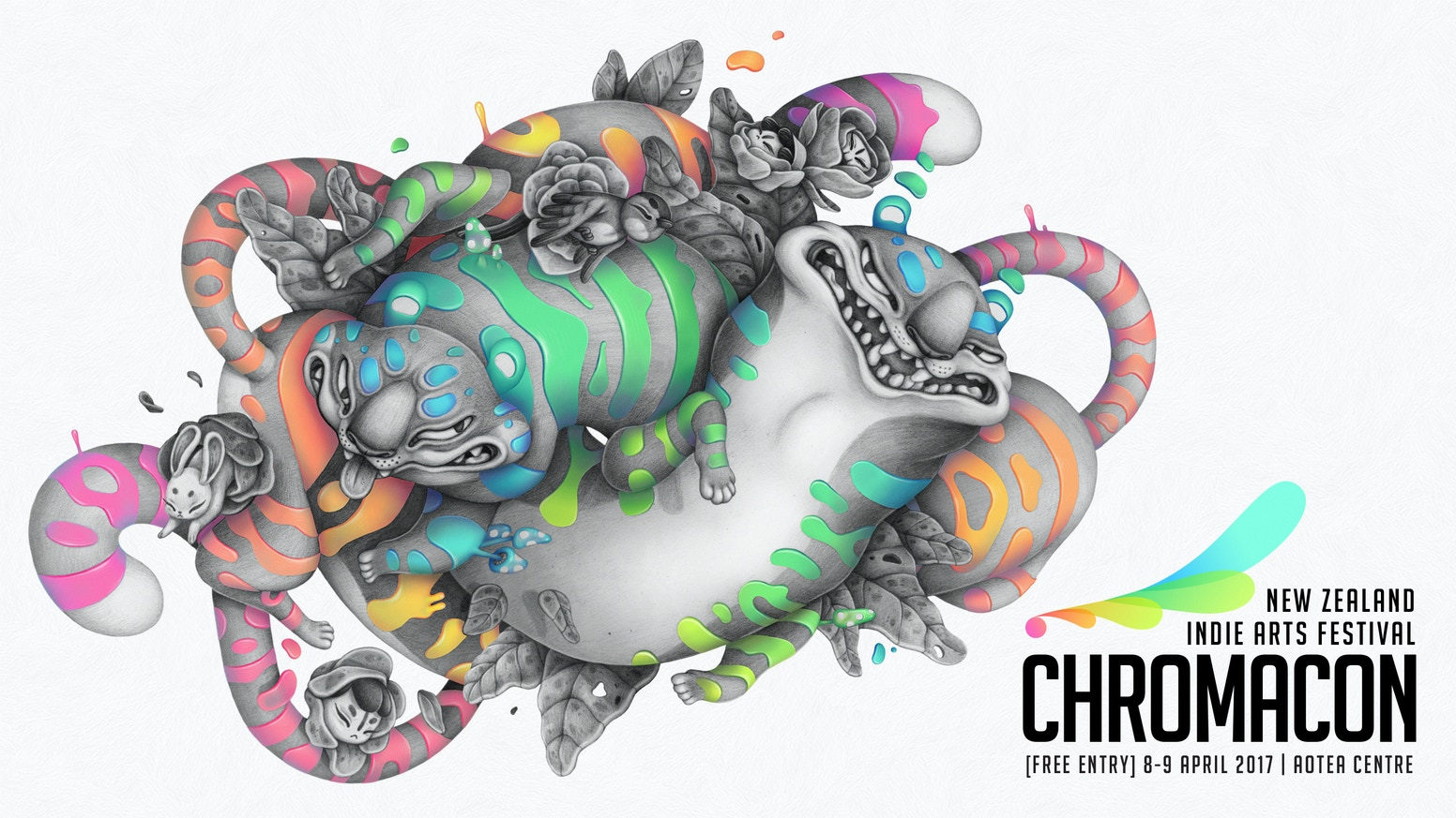 Chromacon is a free New Zealand Arts Festival that showcases illustration, comics, animation, videogames and more from indie creatives.