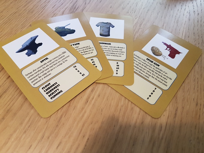 Prototype cards from the initial run. These are being refined, both in the images and card design.