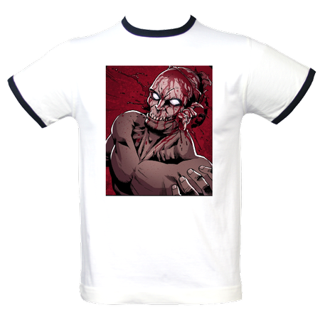 Fitted white ringer t-shirt featuring Henrique and Jan's awesome artwork