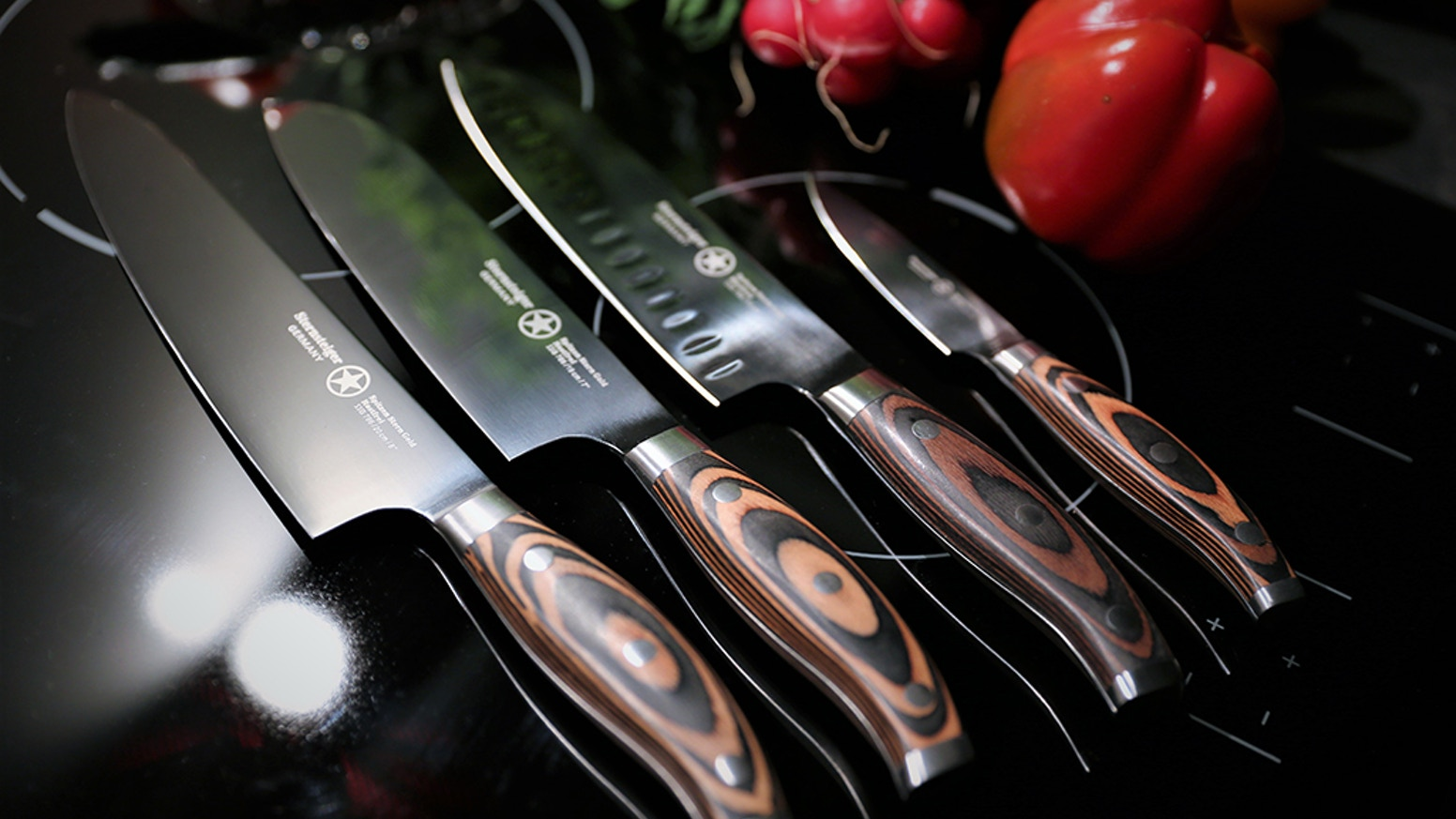 The combination of titanium and stainless steel forms a knife which is unlike anything else and we offer a complete series.