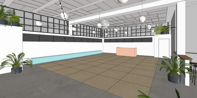 Another rendering, this one of the dance floor indoors.