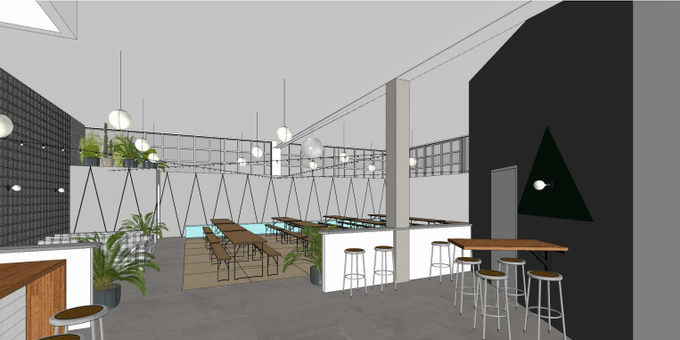 A rendering of communal seating at Nowadays indoors. We'll probably have a different color scheme, but you get the idea.