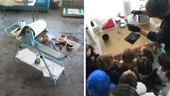 (L) The printing press and (R) a printmaking lesson for the Brooklyn Free School's kindergartners