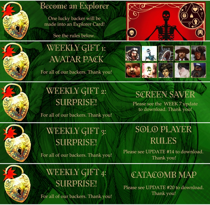 Backer Bonuses are weekly gifts to all of our backers. Thank you!
