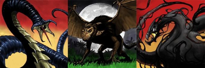 Brain Spiker, Demon Monkey, and Formless Terror