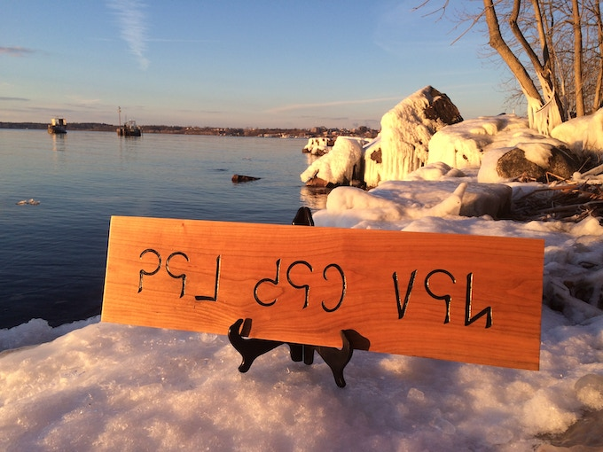 Disclaimer: this is the carving, but not the setting! Nowhere in Bangladesh gets this cold! It is, in fact, Lake Champlain.