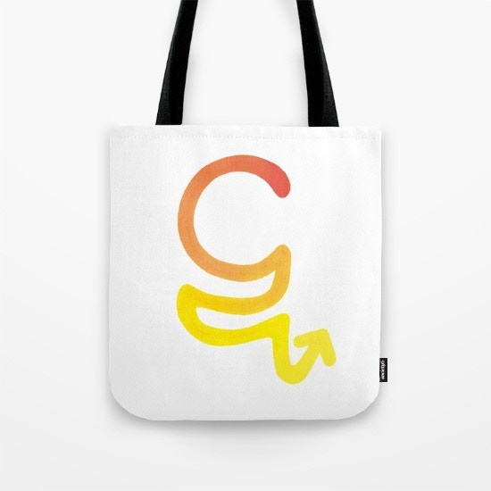 """The bag features the Marma character for """"ta,"""" part of a child-friendly font designed by Irina for the Endangered Alphabets."""