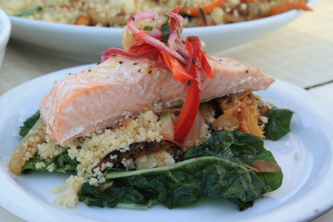 Poached Salmon with Tri-Pepper Salsa, Couscous, Roasted Clementines and Fennel