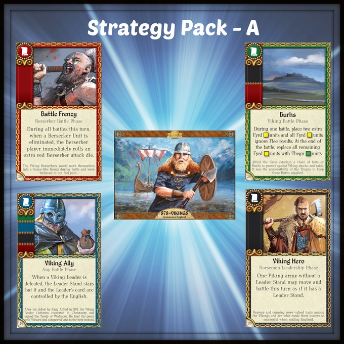 4 promo cards (1 from each faction) for the upcoming game 878 Vikings: Invasions of England from Academy Games.