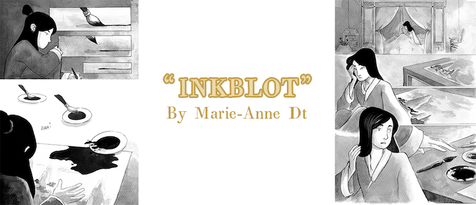 """""""Inkblot"""" by Marie-Anne Dt. NOTE: Backers will receive one of five original pages, not necessarily one displayed here."""