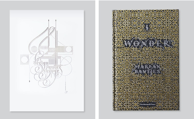 Signed Marian Bantjes Laser-Cut Poster, Signed 'I Wonder' book by Marian Bantjes