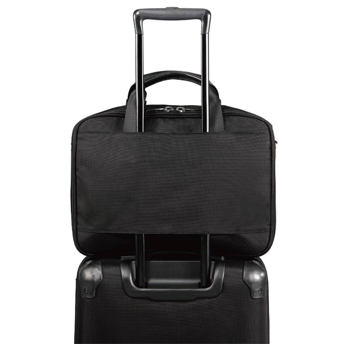 The back of the tech attaché can fit through a luggage handle for easier transportation when you're on the go.