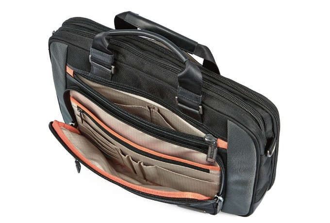 3 exterior zip pockets in the front with organizational compartments inside