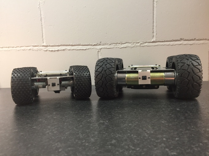 On the left is the YetiBorg from our previous Kickstarter, on the right is our New MonsterBorg robot. The motor size difference is huge! This makes it able to rapidly spin on grass, carpet and rocks, and allows it to traverse all sorts of terrain.