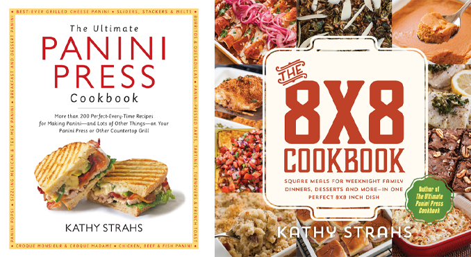 My first two books -- The Ultimate Panini Press Cookbook (Harvard Common Press, 2013) and The 8x8 Cookbook (Burnt Cheese Press, 2015)