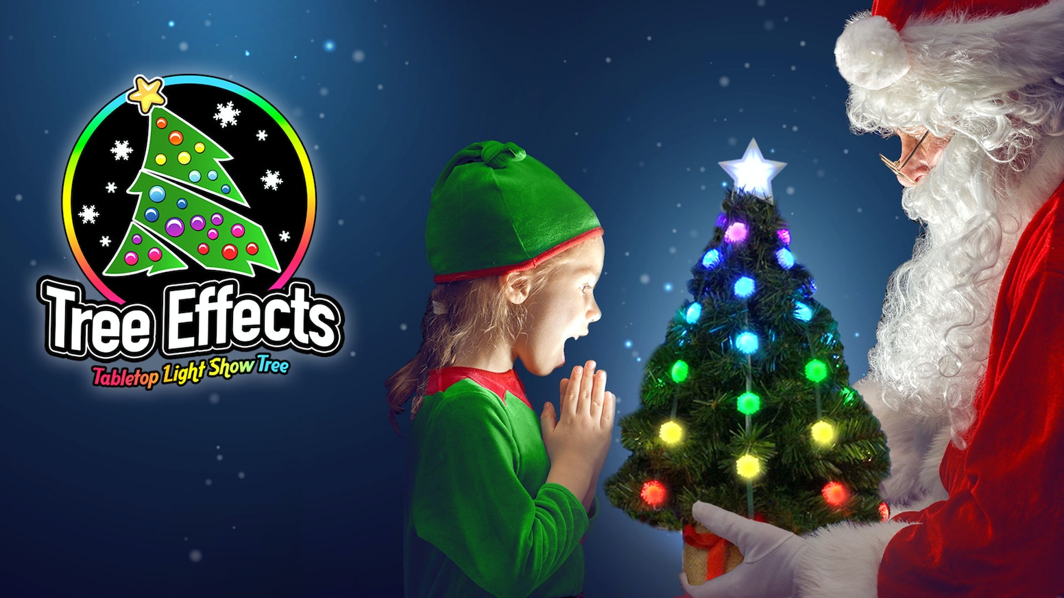 We have created the ultimate pre-lit tabletop Christmas tree. It has 50 full-color effects, changeable light caps, and an IR remote. You can still pre-order at www.TreeEffects.com