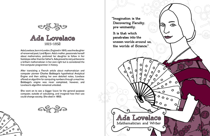 Ada Lovelace double page sample, colorized.