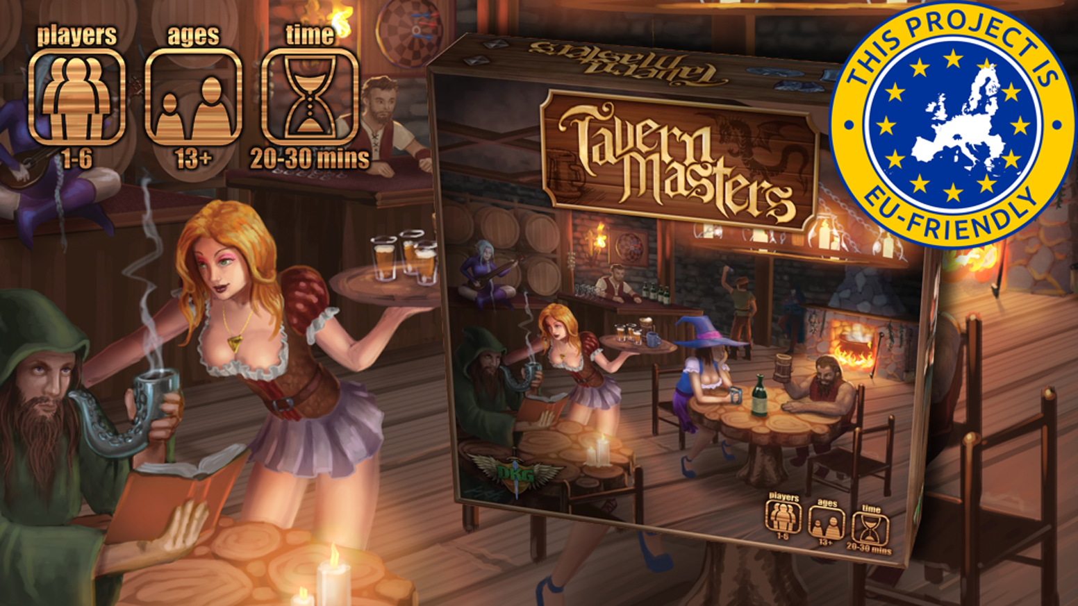 Tavern Masters Card Game - Run the best fantasy tavern in the village! Entertain the patrons! Earn the gold! Awesome new game from DKG! Now Available In Game Stores World-Wide! The Tavern is open!